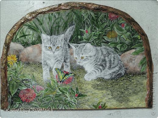 Дорогие мастера и мастерицы, хочу показать вам новые работы и эксперименты.  Это панно с котятами выполнено из не цветной распечатки на салфетке (белом слое). Разные распечатки я предлагала в обменнике. А сейчас хочу показать, что у меня получилось. фото 8