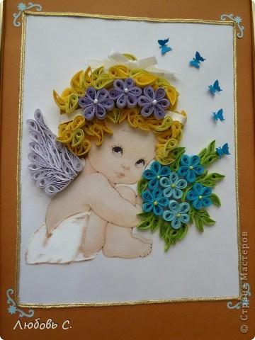 Картина делалась в подарок на крещение. Очень понравился процесс.  На работу вдохновили ангелочки Феечки.  фото 2