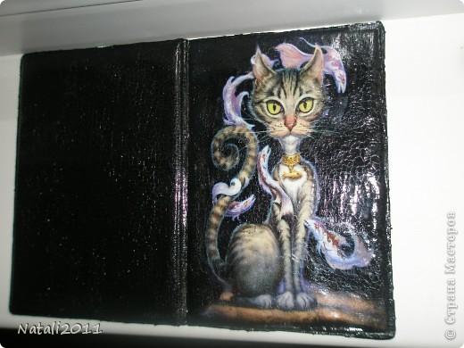 Доброго всем времяни суток! Снова  кошачья тема! Делала декупаж на зеркале, И почему то захотелось сделать мне ключницу. Подарила подруге на ДР, так как она ветеринар, она сразу решила что будет использовать как вешалку под халатик. фото 3