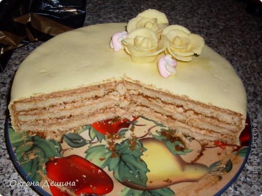 Мой первый блин, точнее торт с мастикой из маршмеллоу, её не красила, поскольку желтый цвет мне и такой понравился фото 5