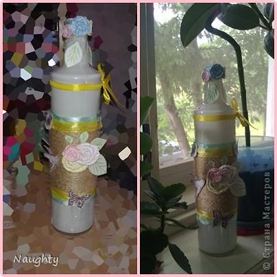 Я использовала подручные материалы: стеклянная бутылка, шпагат, акрил, самодельные цветки из бумаги, и вырезки из журнала, ленточки:) фото 8