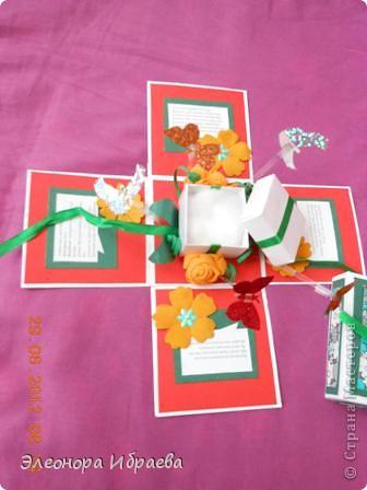 """Приветствую всех мастериц! Решила сестренке на ДР подарить такой коробок с """"сюрпризом"""". У меня практически нет никаких спец.инструментов и бумаг. Сделала из всего что было у меня))))собирала """"что попало"""" фото 5"""