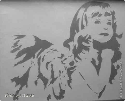 Девочка Ангел (схема для вырезалки) фото 1