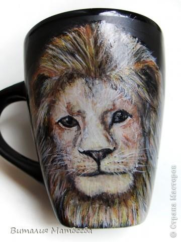 Здравствуйте жители СМ! Я сегодня к вам с подарочной кружкой. Такого же льва я рисовала раньше. Он понравился моим родным и меня попросили его повторить. фото 1