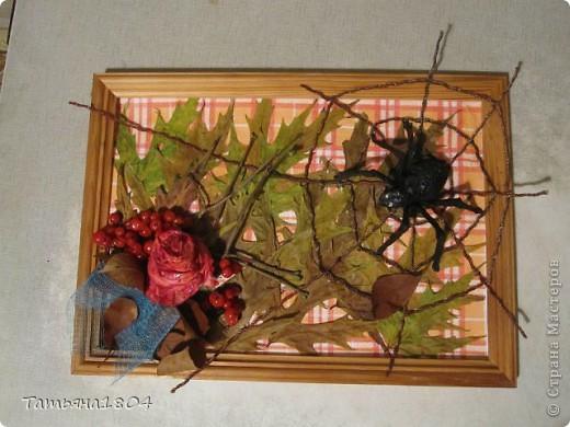 Для конкурса в детском саду сына сделали вместе такую вот осеннюю композицию. В обычной фоторамке, фон из салфетки, осенние листья, ягоды рябины, паутина из окрашенной веревки, роза и паук из салфетки.