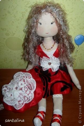 Ушла в кукольный мир, не могу остановиться:)) Теперь это мое новое хобби!Попросили сделать на подарок куколки и вот что получилось! Куколка Алиса 30см. фото 3