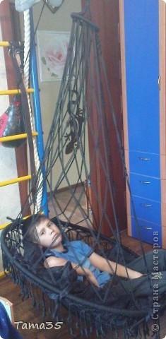 На кресло ушло 400 метров полиэфирного шнура 4,5 мм толщиной. фото 2