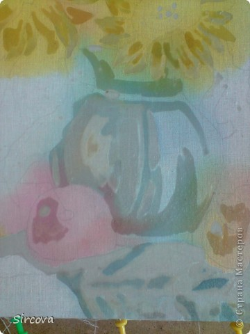 """Для работы в технике горячего батика вам нужны следующие материалы и инструменты: ткань белая (хб), подрамник (у меня размер 40х30см), кнопки для натягивания ткани, краски для батика """"Гамма хобби"""", (не покупайте Гамма акрил для такого вида росписи они не годятся!!!!!!!!) Кисти разной толщины для росписи (каланок, пони) и разной толщины щетина для воска. Палитра и банка с водой. И основные инструменты для  воска чанинги тоже разной толщины и формы и конечно же обычные технические свечи или парафин. И фен желательно с функцией холодного воздуха. Утюг и много газет!!! фото 8"""