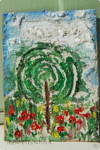 """Первая мини-серия """"Облака"""". Я все продолжаю экспериментировать с текстурными пастами. Я от них просто в восторге! Хочется творить и творить...покажу последнюю серию АТС ...Основа картон,текстурная паста с песком,  акварель, акрил фото 3"""