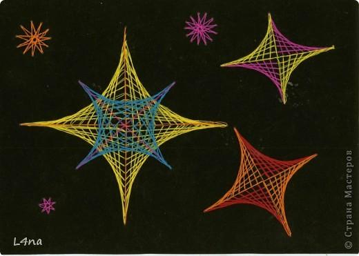 Когда-то я занималась изонитью, еще до того как  получила доступ в интернет. Тогда не было достаточно литературы и мои скромные работы это лишь наброски к фантазии на тему круга и угла... Работы чудом сохранились в рабочей папке, и теперь они были благополучно отсканированы.  Я покажу к чему привели меня мои игры с нитками, формами и цветом...  Салют фото 5