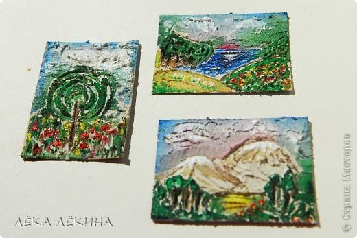 """Первая мини-серия """"Облака"""". Я все продолжаю экспериментировать с текстурными пастами. Я от них просто в восторге! Хочется творить и творить...покажу последнюю серию АТС ...Основа картон,текстурная паста с песком,  акварель, акрил"""