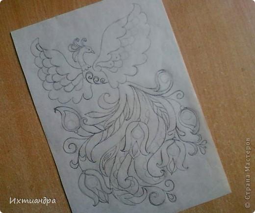 Картина панно рисунок День рождения Роспись Жар-птица Краска фото 3