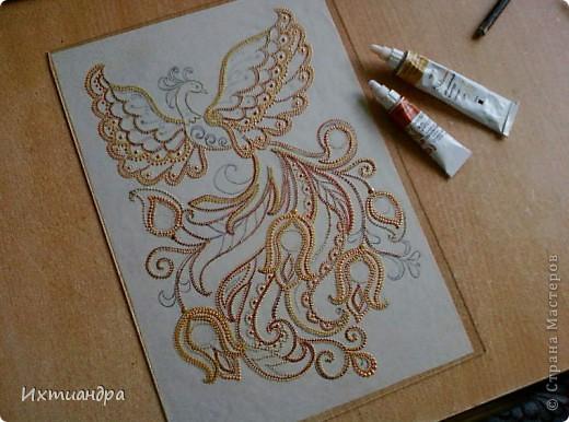 Картина панно рисунок День рождения Роспись Жар-птица Краска фото 4