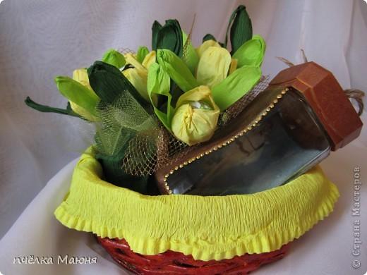 вариант оформления подарка!!!корзинка (плетение из газет) банка для кофе с сюрпризом, и конечно конфеты!! фото 2
