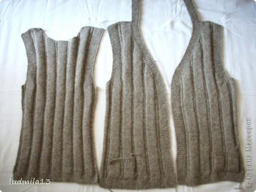 Здравствуйте!!! В перерыве между плетением связала жилетку из домашней шерсти по просьбе подруги для её мамы фото 2