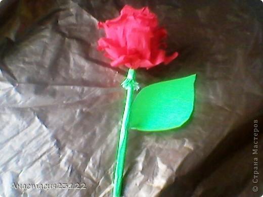 Лепестки розы я сделала из гофрированной бумаги, а стебель и листочек из обычной цветной. фото 1