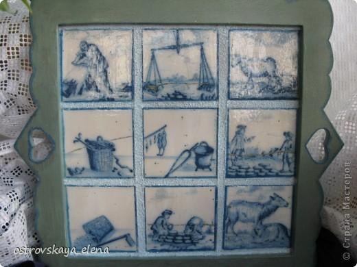 Имитация керамической плитки на деревянной поверхности. фото 3