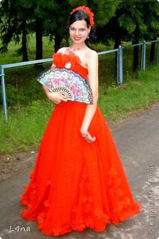 Этот образ мы создавали  на выпускной  старшей дочери в 2005 году. Материал для платья: гипюр, органза и сетка.  Дополнительный материалы:  сатин - для подклада, ригилин  - для усиления корсета, леска - использовалась для изготовления цветов, петли металлические ( из комплектов с крючками для потайных застежек) и шелковый тонкий шнур красного цвета для шнуровки. фото 1