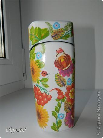 Первый раз делала на заказ банку. Предложила в украинском стиле, потому что уже работала с этой салфеткой. Как оказалось для заказчицы это очень актуально. Надеюсь ей понравится фото 12