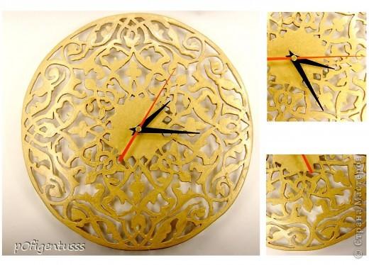 Часы вырезаны из фанеры диаметр 50 см  покрыты золотой краской  *первый опыт выпиливания