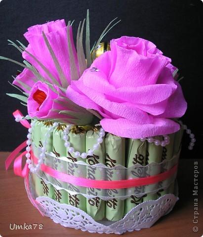 Доброго времени суток всем жителям Страны Мастеров! Представляю Вам свой конфетный тортик с начинкой.  фото 2