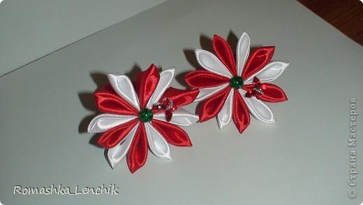 впервые я попыталась создать цветы в технике канзаши.  очень довольна результатом. А как поднимает настроение!!! просто фантастика фото 1