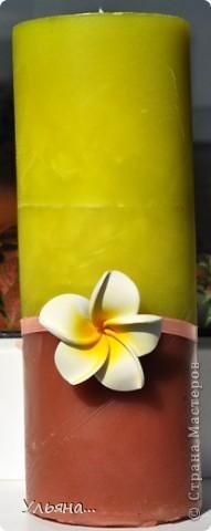 Вот такие три свечки у меня получились.Свечную основу окрашивала с помощью специальных красителей для свечей. фото 6