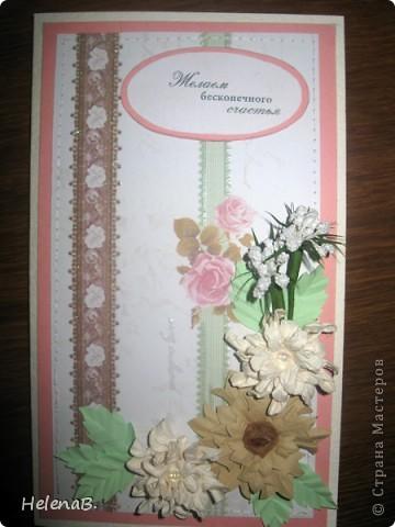 Здравствуйте жители Страны Мастеров!!! Попросили сделать подарок замечательной женщине, что нибудь нежное... Получился вот такой цветочек и открытка. Отдельное спасибо Антонине Мельниченко за замечательный МК по гиацинту!  фото 4