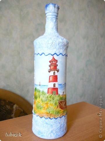 Давно хотела сделать морскую бутылочку. И вот представляю на ваш суд моё творение.  фото 1