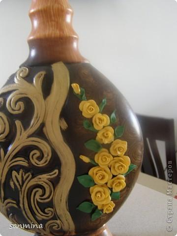 пока трехмесячная доча сладко сопит в кроватки, получилась вот такая декоративная вазочка. лепка из ХФ, окрашен масляной краской. фото 3