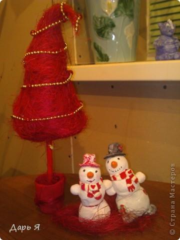 Ёлочка из сизали и снеговички из солёного теста фото 1