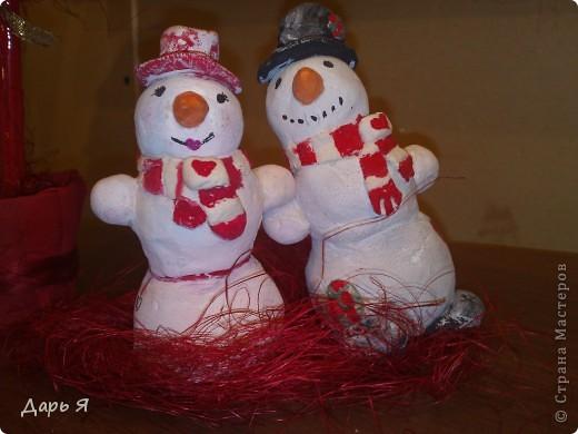 Ёлочка из сизали и снеговички из солёного теста фото 2