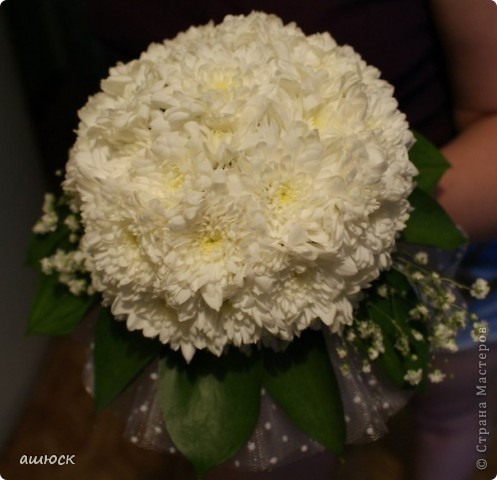Букет невесты (хризантемы, рускус, гипсофила, портбукет) фото 1