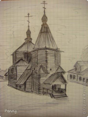 Меня очень привлекают дома и церкви Древней Руси. И во время отдыха я люблю их рисовать. Я их конечно не из головы беру, а срисовываю с фотографий. Рисую я сразу черной шариковой ручкой. Вроде получается неплохо. :) Лично мне нравится. К сожалению, я не знаю названий этих церквей... :( фото 3