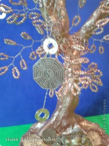 Новое денежное дерево с китайскими монетами и символами по фэн-шую. фото 3