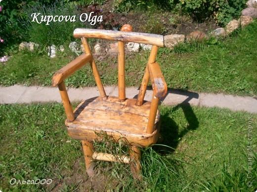 Вот такой стульчик сделал мой папа для дачи,чтоб сидеть около мангала фото 1