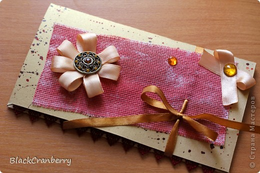 Золотистая открыточка-конвертик. фото 1