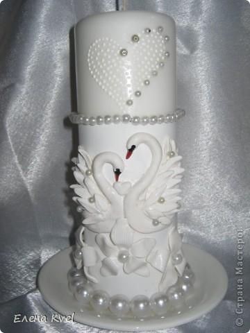 """Весь свадебный набор в сборе) Свадебные бокалы """"Лебеди"""" и семейный очаг. Невеста захотела лебедей, а я очень люблю их лепить... фото 2"""