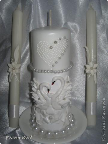 """Весь свадебный набор в сборе) Свадебные бокалы """"Лебеди"""" и семейный очаг. Невеста захотела лебедей, а я очень люблю их лепить... фото 3"""