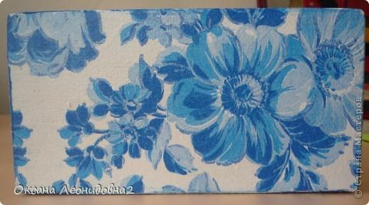 Заметила я что меня что то все тянет на синенькое ,купила вещи себе синенькие,задекупажила купюрницу синеньким !!! фото 1
