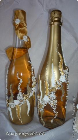 Делала такие бокалы сестре на свадьбу, заказчица увидела и попросила сделать набор. фото 4
