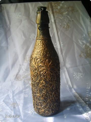 """Бутылка выполненная в авторской технике Татьяны Сорокиной """"Пейп-арт"""" по МК http://stranamasterov.ru/node/308701 впервые попробовала кракле из яичной скорлупы фото 4"""