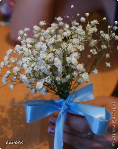 Букет невесты (хризантемы, рускус, гипсофила, портбукет) фото 3