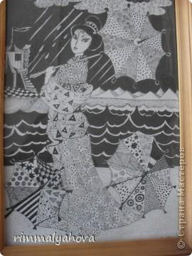"""Мои работы в графике (геливая ручка) """"Фея дождя"""". фото 4"""
