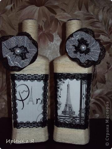 Бутылки-парижанки в подарок подруге. Хотелось сделать что-то винтажное,но по-моему винтажем и не пахнет. фото 2