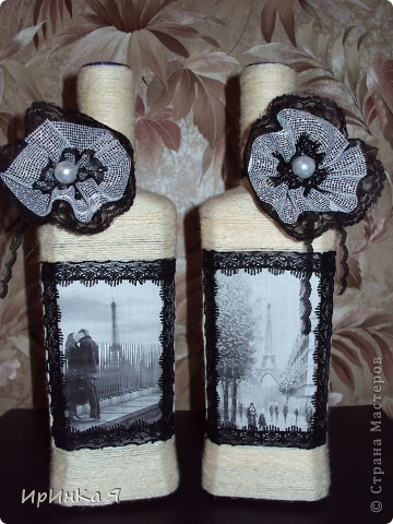 Бутылки-парижанки в подарок подруге. Хотелось сделать что-то винтажное,но по-моему винтажем и не пахнет.