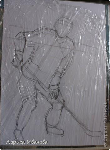 Для любителей хоккея выкладываю МК по лепке хоккеистов. Давно уже лепила, все никак не могла загрузить сюда фото, вот наконец-то нашла время))) Размер картины 20х30 см. фото 2