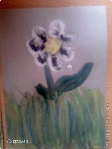 Вот такие 2 карточки у меня получились, впервые пробовала технику энкаустика.Продолжать или нет???.....Но на ромашке я чёрные пятнышки делать не буду.... фото 2