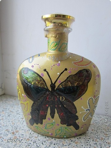 Бутылка с бабочками на юбилей  фото 1