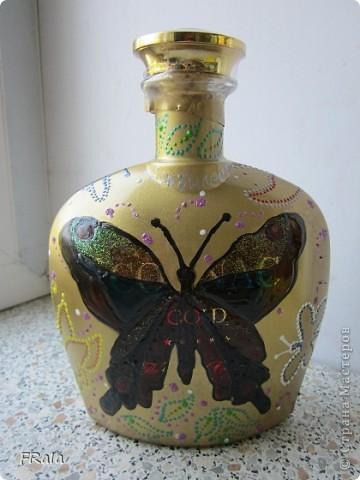 Бутылка с бабочками на юбилей  фото 2
